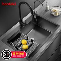 德國洗菜盆納米水槽單槽廚房304不鏽鋼洗碗槽黑色水池家用洗碗池