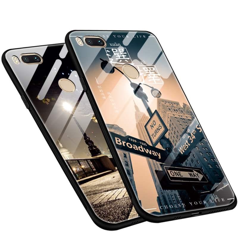小米5x手机壳XM5 X手机套玻璃镜面软边硅胶潮牌网红个性玻璃壳包边防摔女款男潮