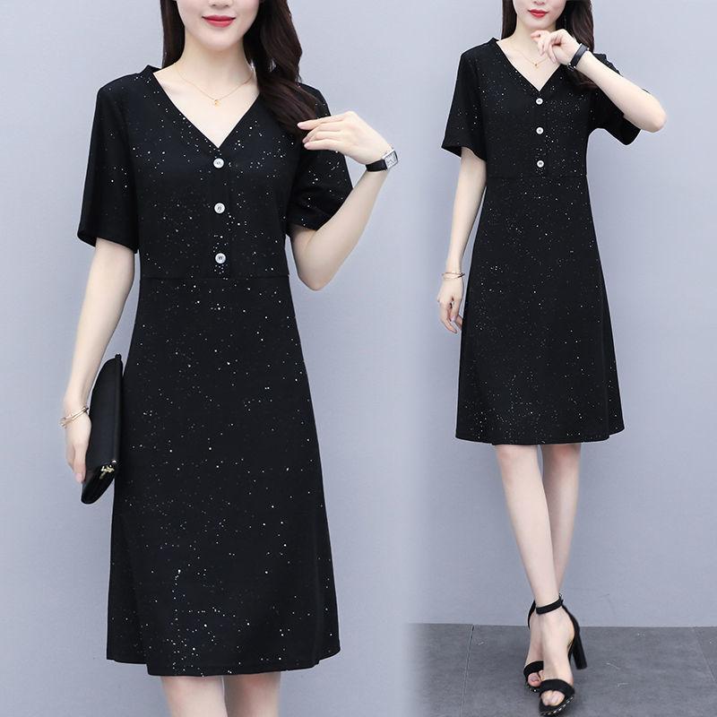 大码女装2020夏季新款宽松遮肚v领小黑裙胖妹妹减龄显瘦连衣裙潮