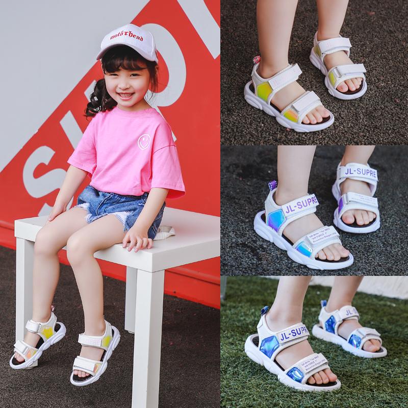 童鞋2019夏新款沙滩鞋魔术贴小熊底运动风凉鞋休闲凉鞋
