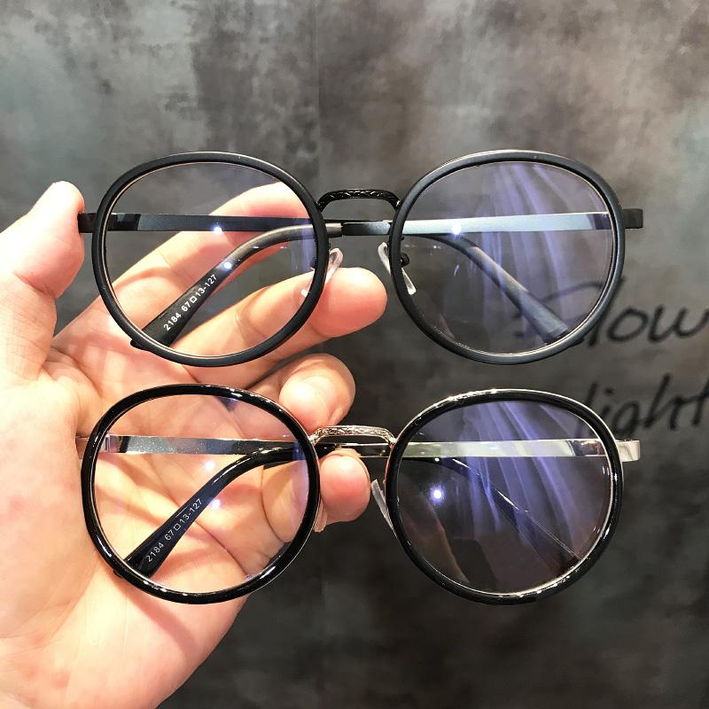 新款韩版复古圆框眼镜女黑色大脸圆脸素颜神器平光镜近视眼镜架男
