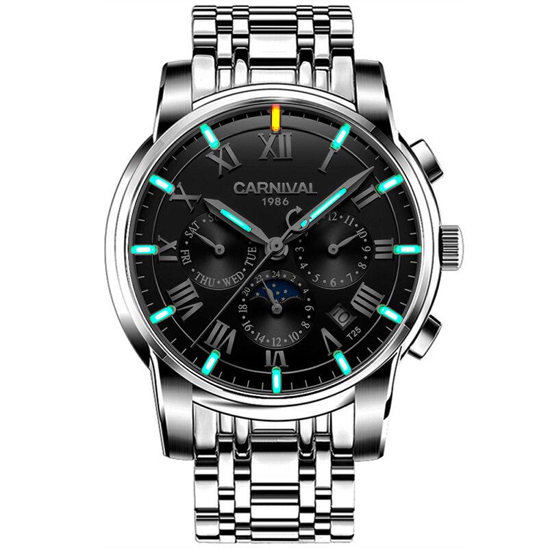 时尚流行品牌腕表嘉年华CARNIVAL品牌男士手表氚气夜光精钢自动机