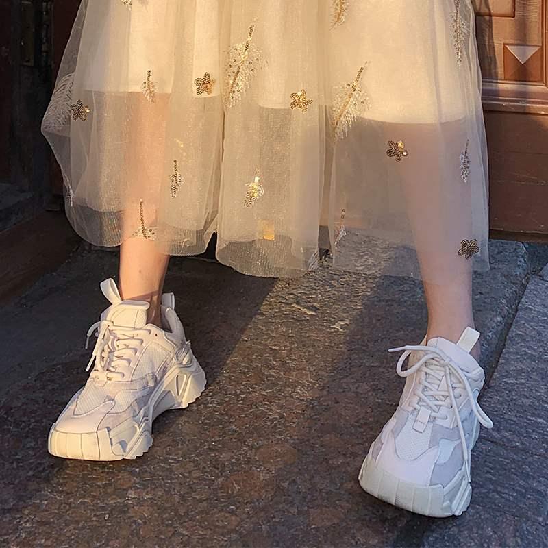 梅子熟了复古撞色百搭鞋厚底老爹鞋休闲运动鞋秋季2019年新款女