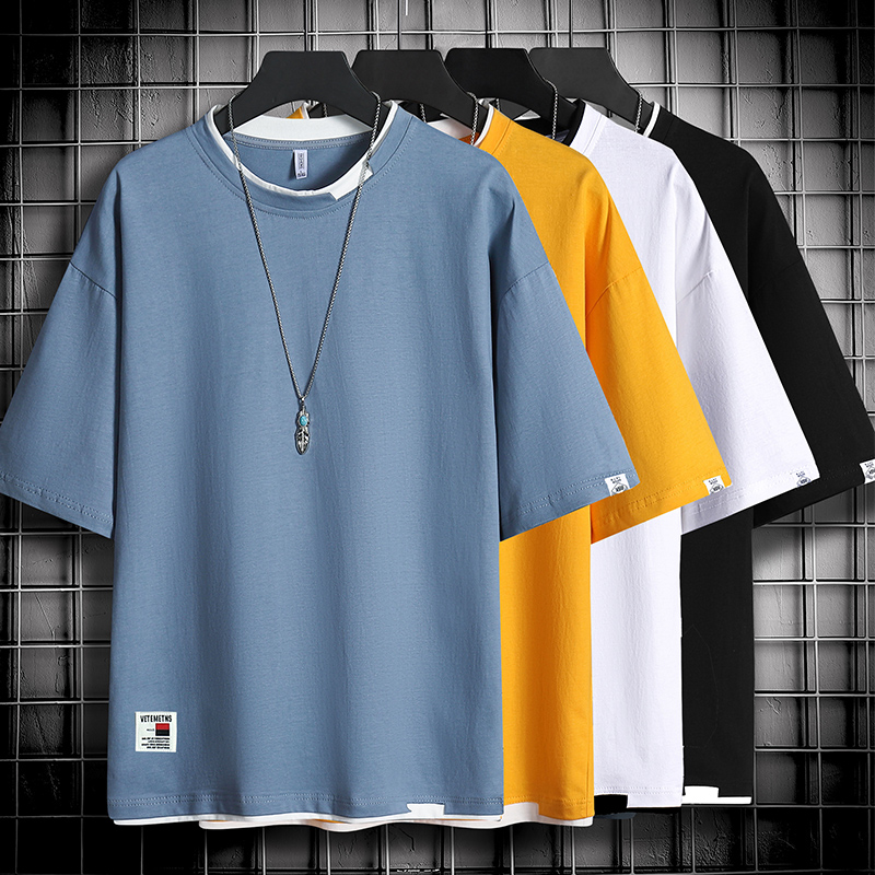 男士短袖T恤夏季2020新款冰丝潮牌潮流青少年宽松半袖男生衣服装