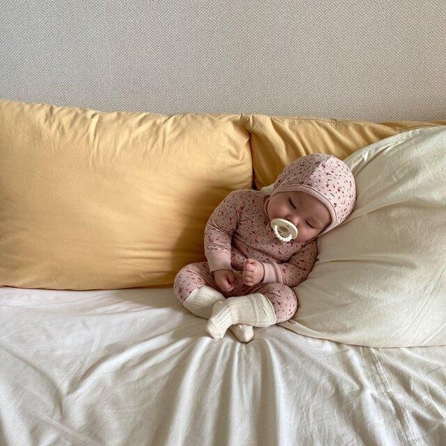 20秋冬韩国婴儿碎花长袖上衣裤子帽子宝宝家居服睡衣三件套装