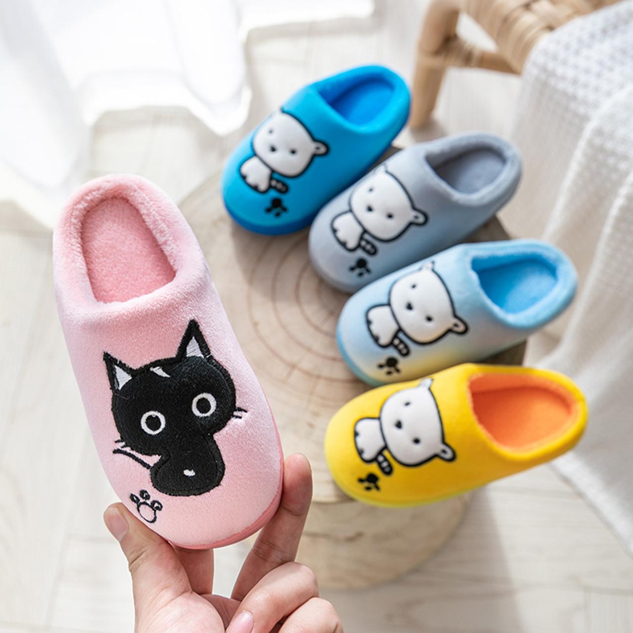 儿童棉拖鞋家居秋冬季防滑宝宝居家用室内男童女童保暖毛棉鞋冬天图片