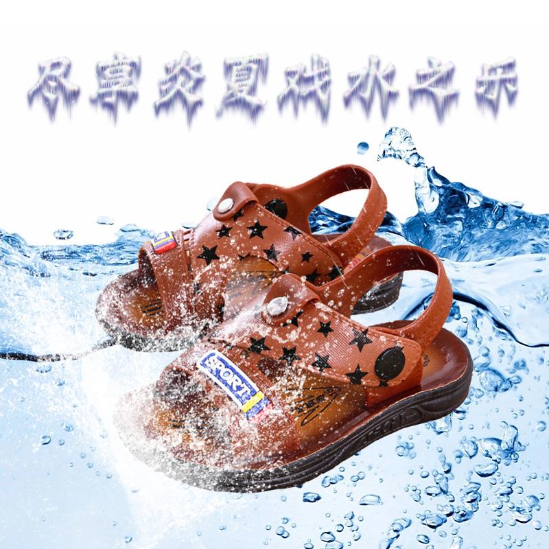 凡好男童鞋2019夏季新款中大童时尚外穿耐磨软底防滑仿皮平底凉鞋