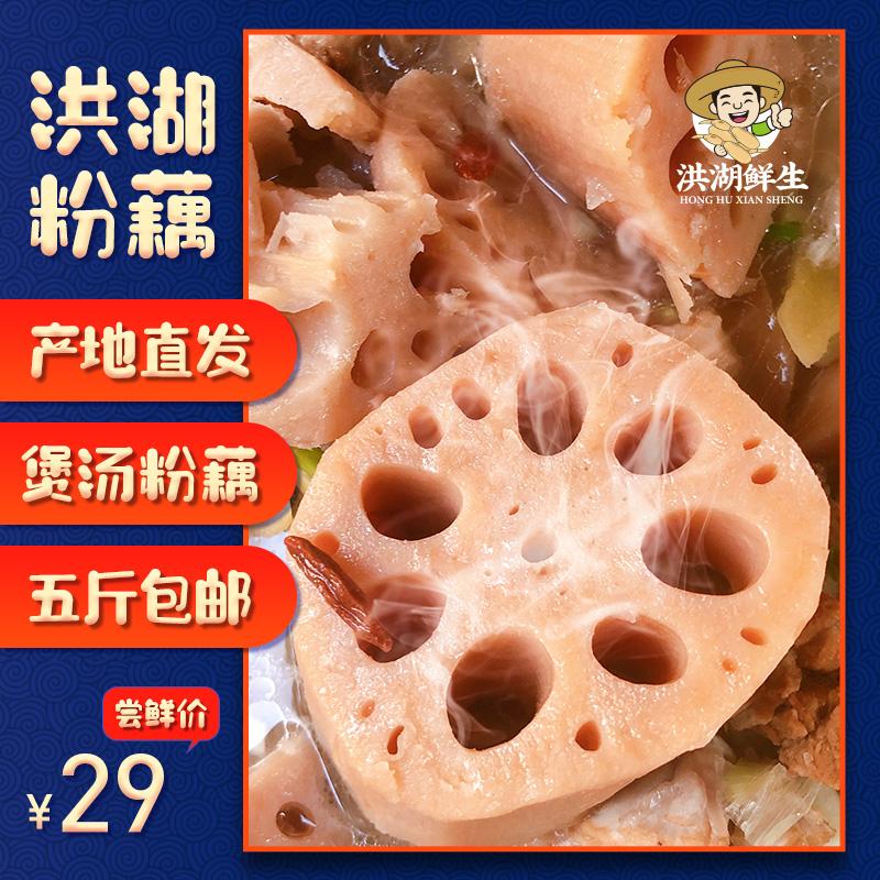 洪湖莲藕新鲜煲汤粉藕5斤湖北特产面藕现挖带泥巴藕炖汤粉糯包邮