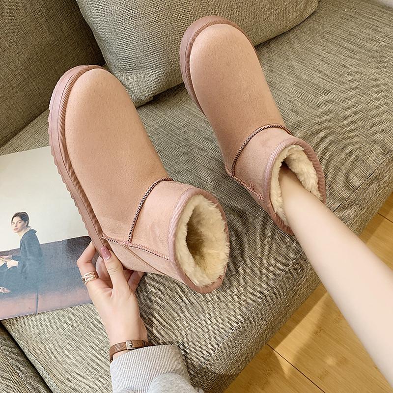 雪地靴女2019新款时尚加绒加厚百搭皮毛一体短靴冬季保暖防滑棉鞋优惠券