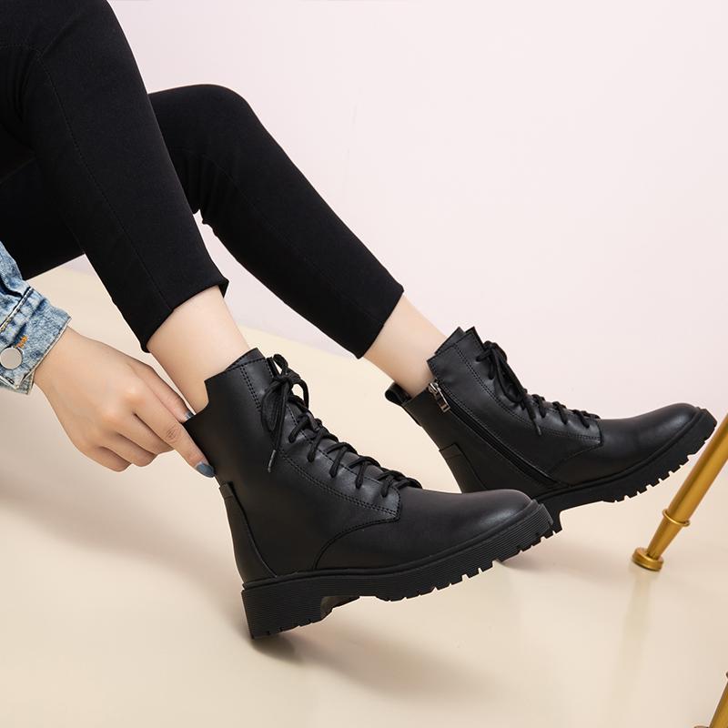 马丁靴女英伦风2019春秋款新款百搭帅气黑色单靴薄款真皮短靴子女