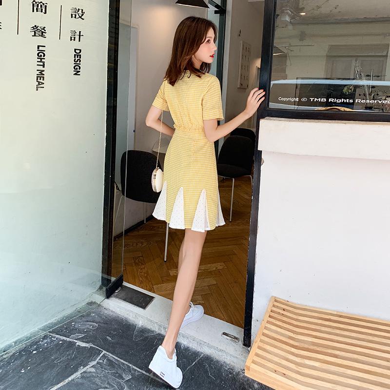 洋气格子连衣裙2019新款夏收腰小个子气质显瘦夏天流行仙女裙子女