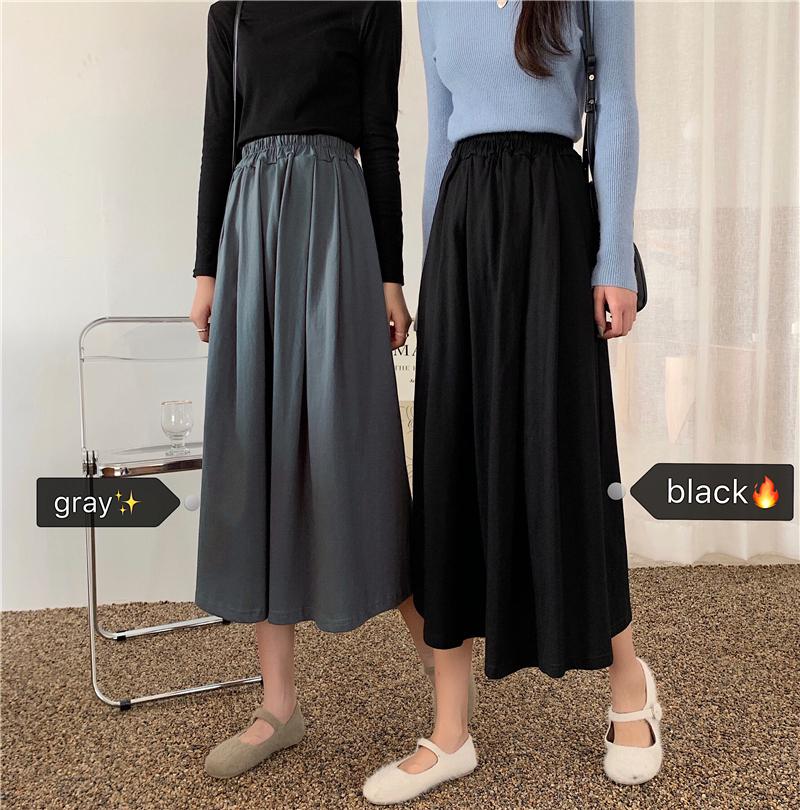 2020新款遮胯裙子高腰中长款半身裙春季学生长裙显瘦女黑色A字裙