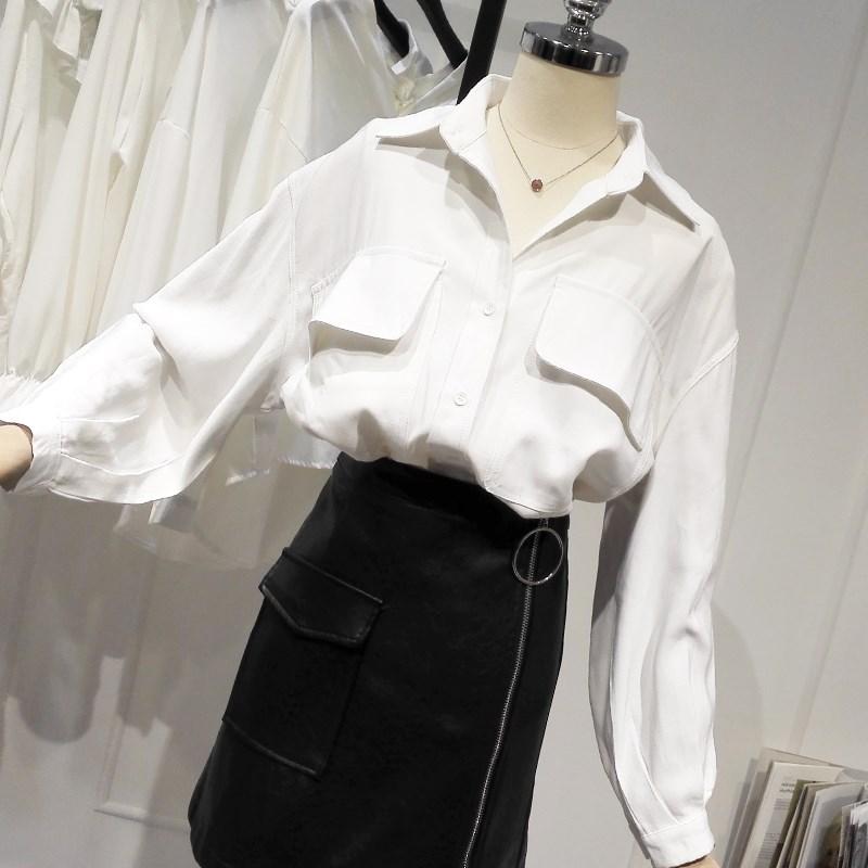 2019秋装冷淡风双口袋衬衫女韩范bf宽松中长款设计感小众长袖上衣