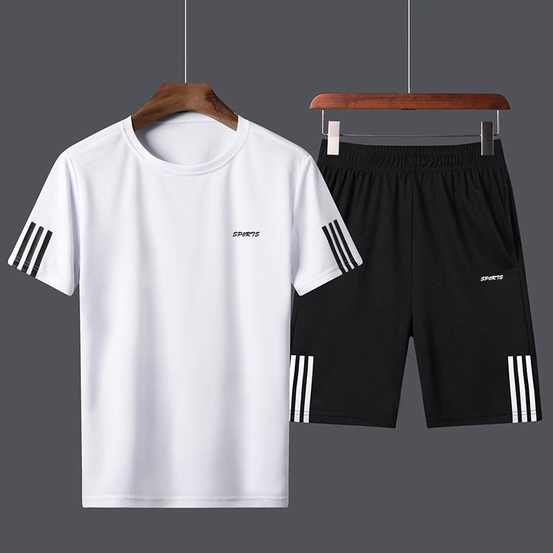 报喜公鸡运动套装男士短袖T恤夏季宽松休闲短裤两件套跑步速干服