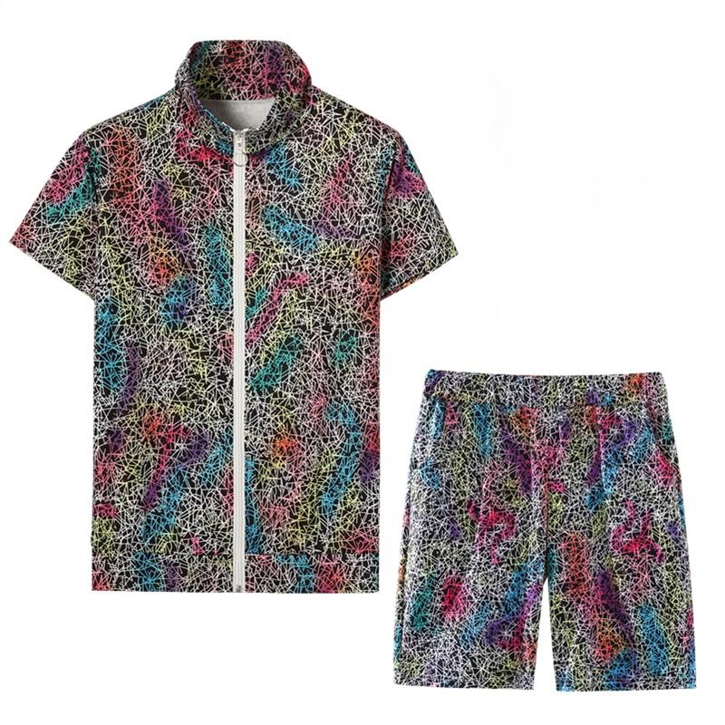 实拍夏季新款男女拉链短袖短裤套装潮百搭情侣学生两件套AS20# -