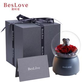 BesLove/永生花礼盒音乐玫瑰花玫瑰小熊情人节礼物送女友生日礼品
