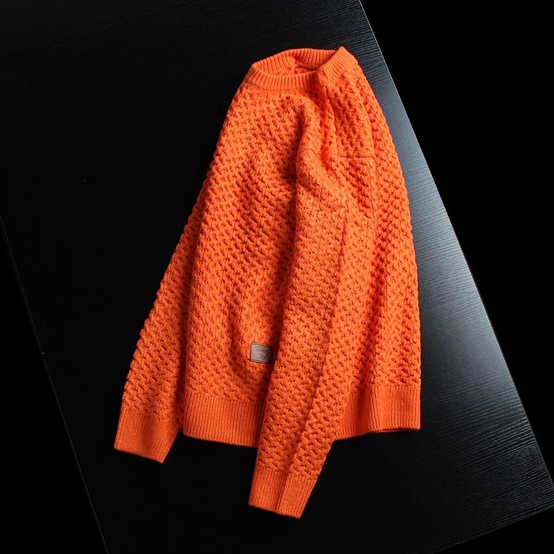 时尚活力橙 秋冬厚款男士棉线针织衫扭花圆领柔软休闲套头毛衣男