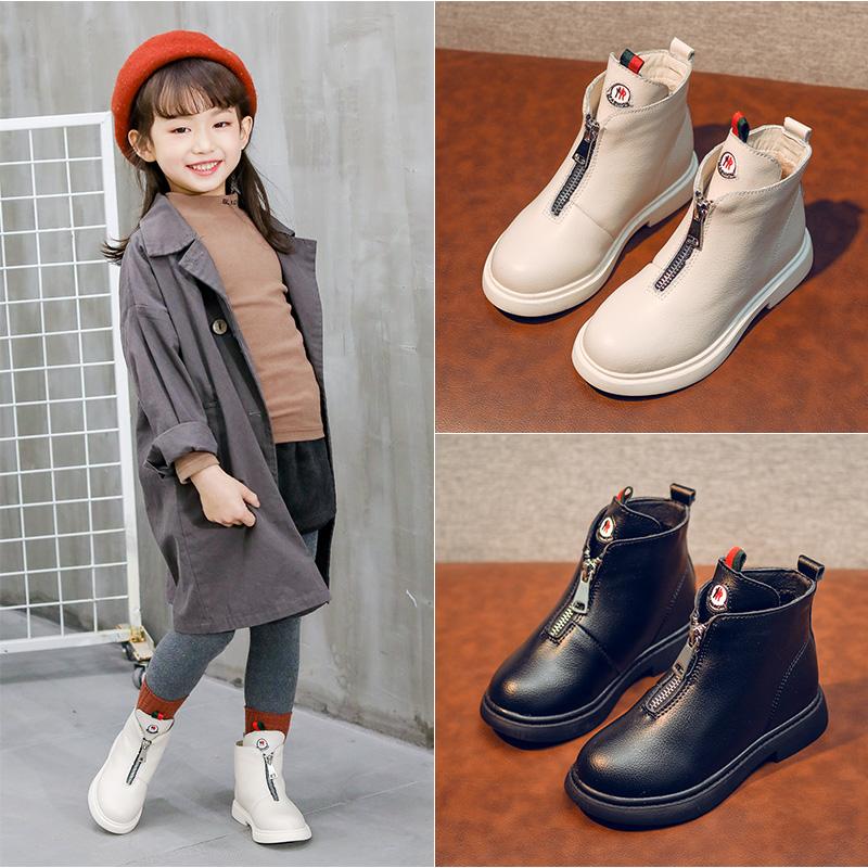 儿童马丁靴2019秋冬新款短靴子女童鞋中大童英伦风短皮靴男孩靴子