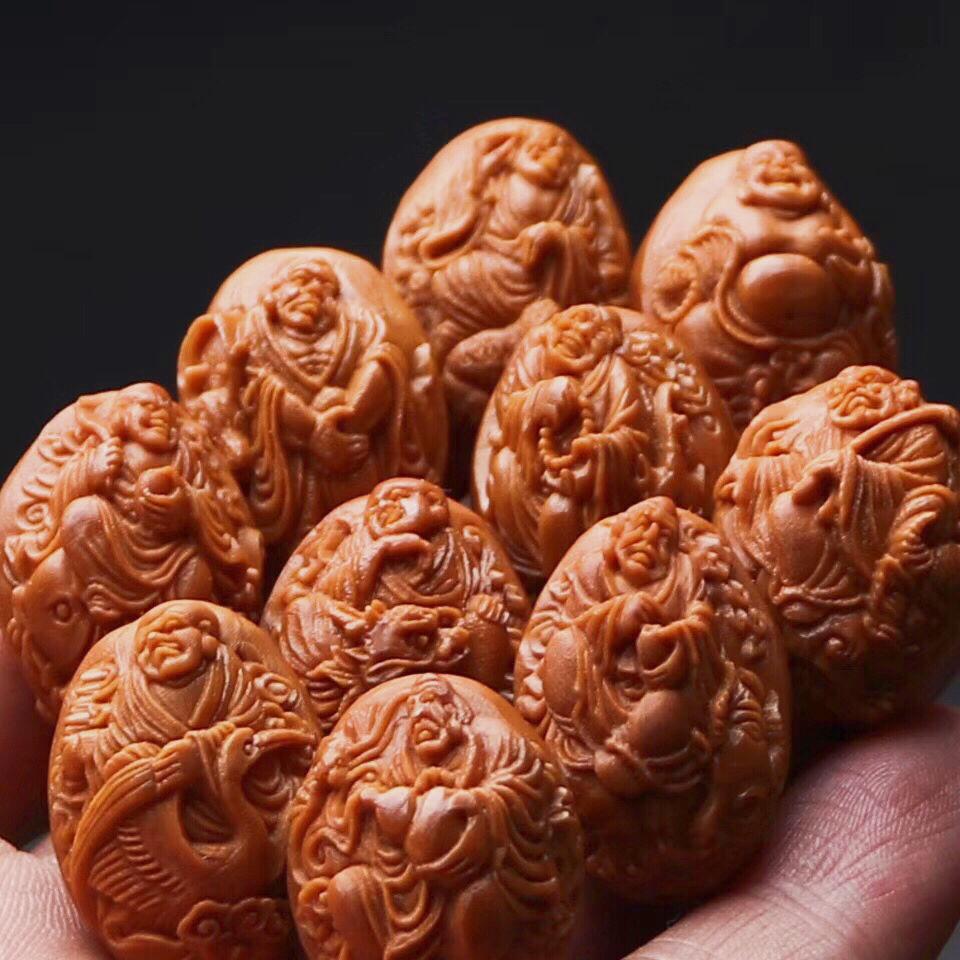 橄榄核手串男 文玩手链男 橄榄核雕刻十八罗汉 浮雕橄榄胡手链