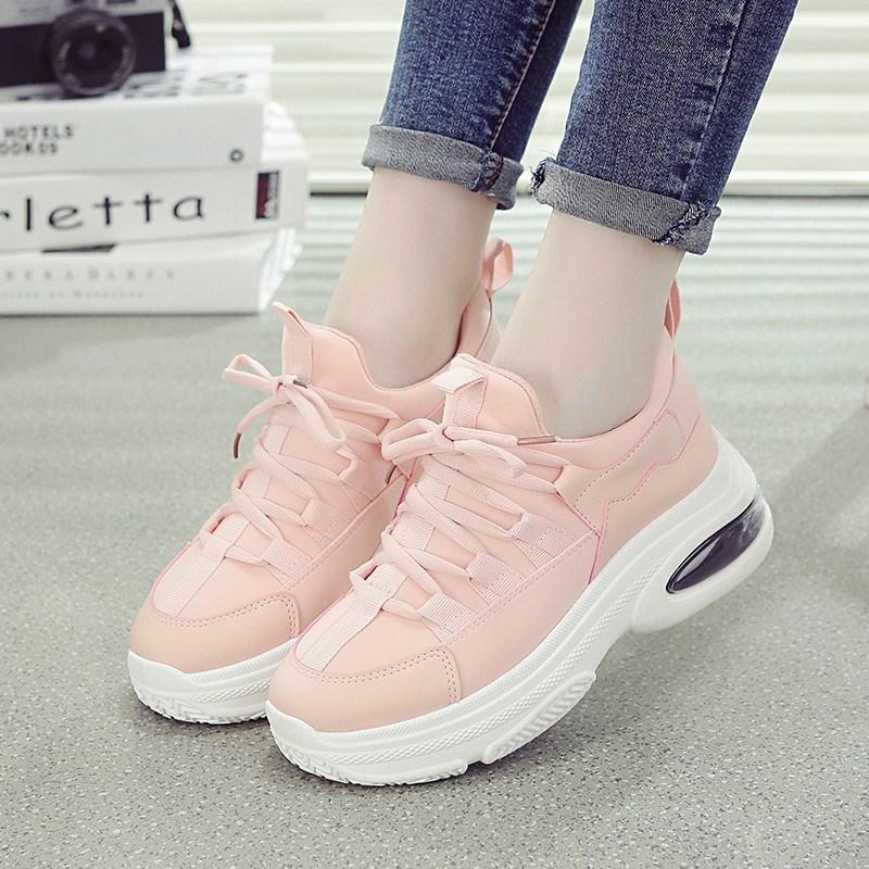 初中学生运动跑步鞋秋季女鞋气垫旅游鞋女粉色女鞋子韩版