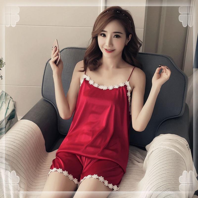 夏季薄款性感短袖睡衣女韩版诱惑吊带两件套装冰丝无袖家居服