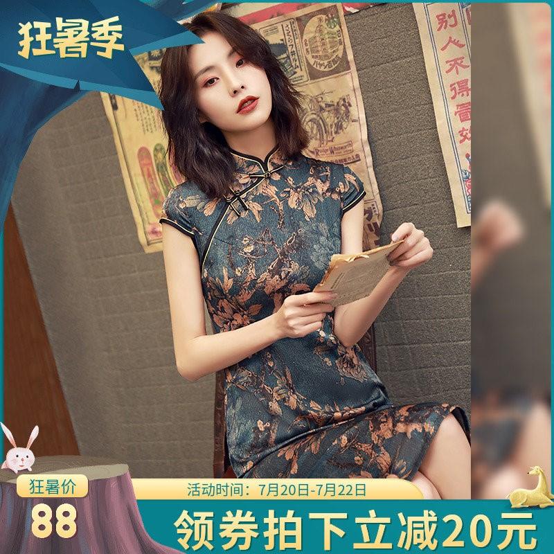 蚀骨旗袍2019夏款改良版年轻款少女日常优雅复古中国风短款连衣裙