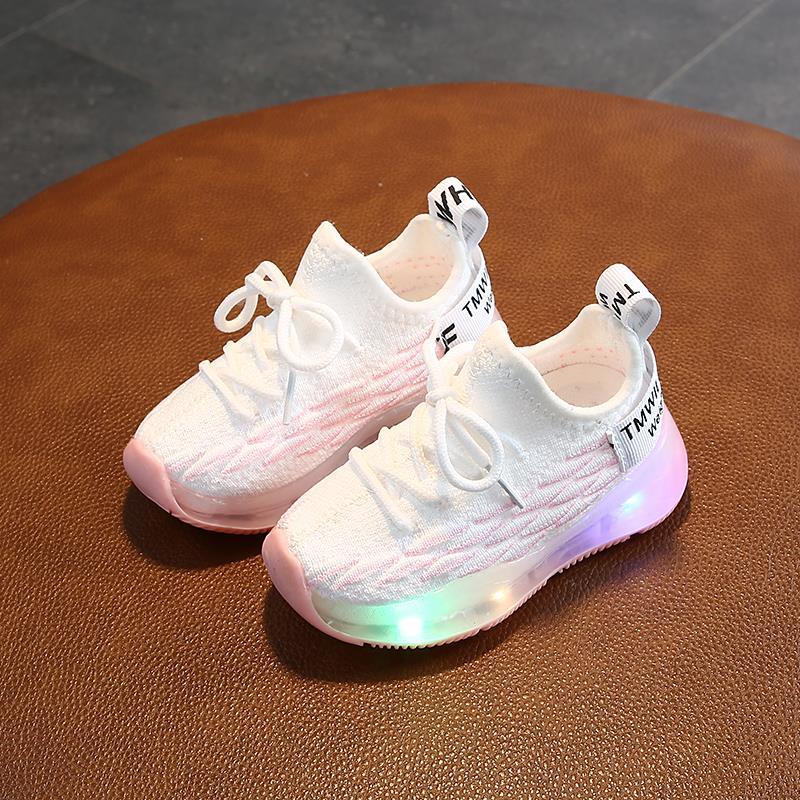 软底飞织鞋0-3岁男女童透气网鞋机能鞋小童运动鞋荧光底跑步鞋潮