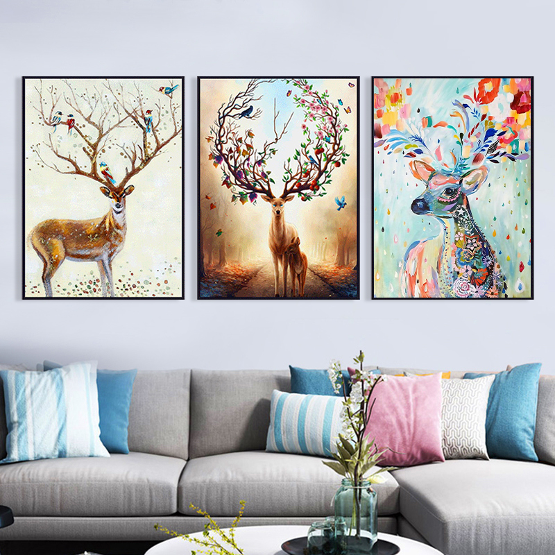北欧客厅三联画装饰画现代简约家庭挂画免打孔安装沙发背后背景墙