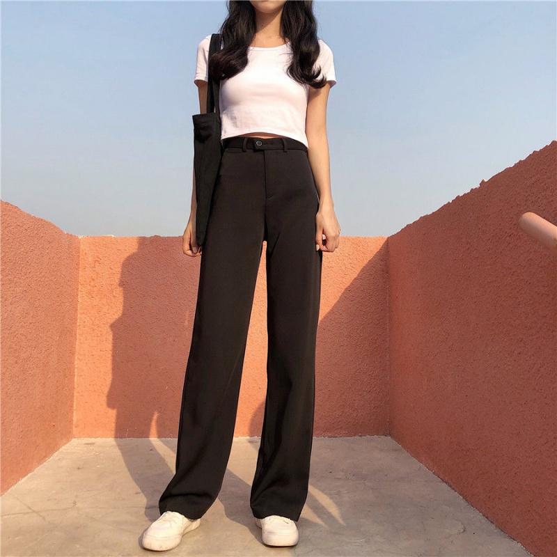 阔腿裤女式夏款韩版垂坠高腰加长拖地显瘦显腿西裤学生百搭直筒裤
