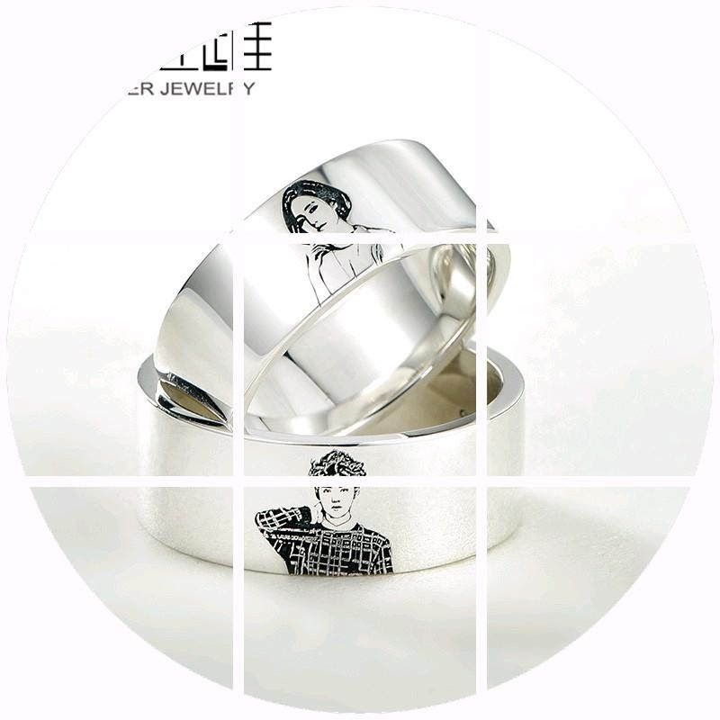 日本购私人订制定做肖像925银饰情侣戒指 男女对戒个性创意