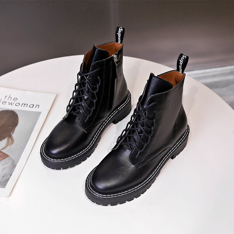 杨幂同款侧拉链马丁靴女2019夏款英伦风帅气百搭黑色厚底系带短靴