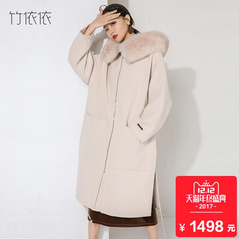 手工款 白色双面绒羊毛大衣女中长款真狐狸毛大毛领宽松毛呢外套
