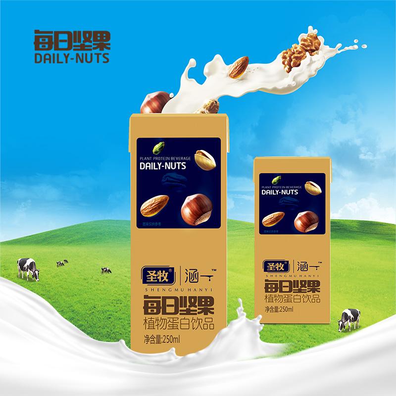 圣牧涵一每日坚果乳250ml*10盒核桃奶植物蛋白饮品零食早餐奶饮料