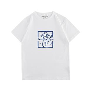 MushronCow爱与和平纯棉设计感印花短袖原宿风上衣情侣T恤女