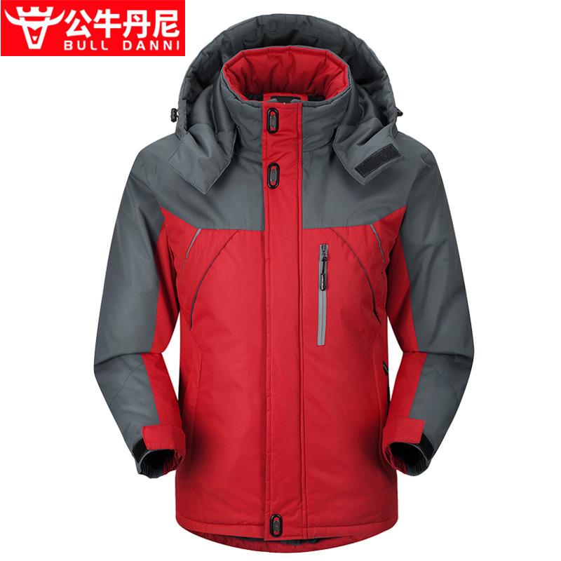BULL DANNI/公牛丹尼户外冲锋衣男冬季加绒加厚登山服防风外套