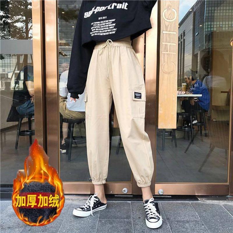 加绒加厚冬季新款美式工装裤女学生嘻哈宽松休闲裤中腰哈伦显瘦裤