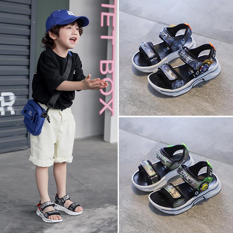 儿童迷彩凉鞋男童夏季时尚休闲沙滩鞋防滑软底洋气男孩鞋大童鞋子