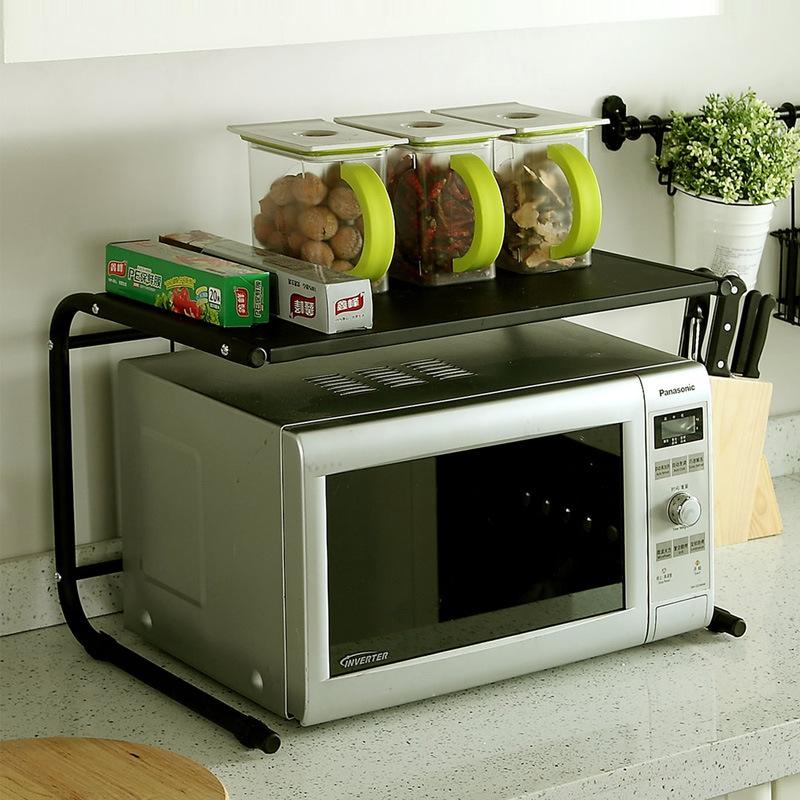 2019厨房双层微波炉架烤箱架子 电器层架金属微波炉置物架
