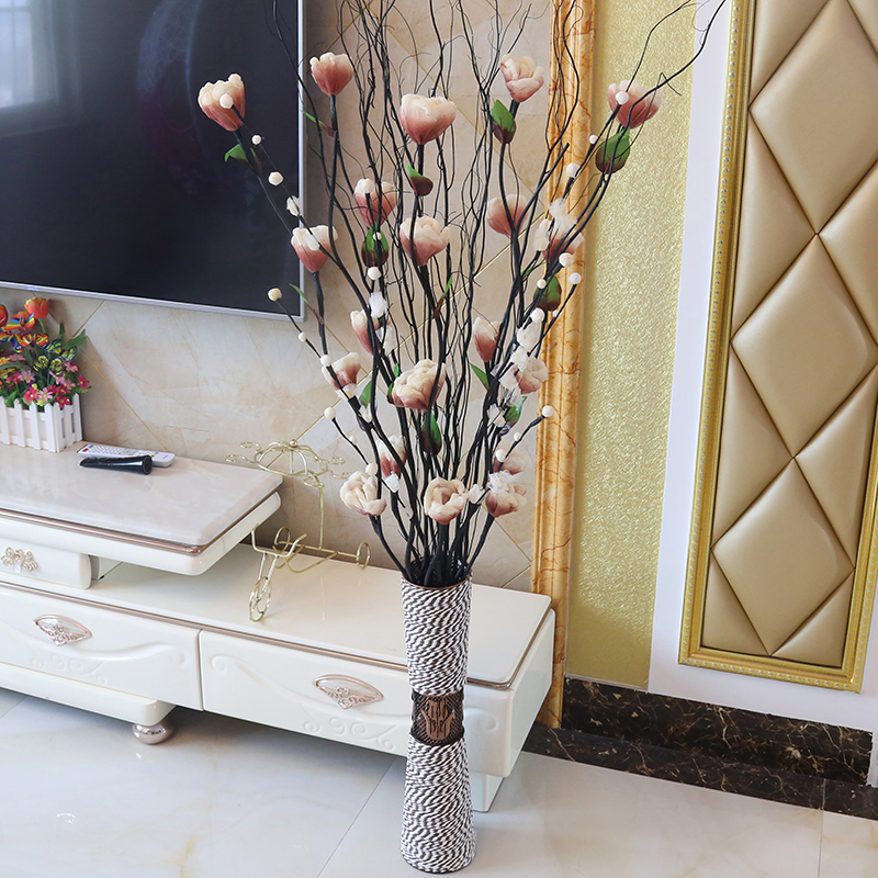 假花仿真花客厅装饰花落地插花叶脉干花花束室内装饰品家居摆饰