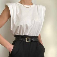 欧美ipo0s设计感ma垫肩廓形背心t恤纯色百搭宽松显瘦上衣女潮