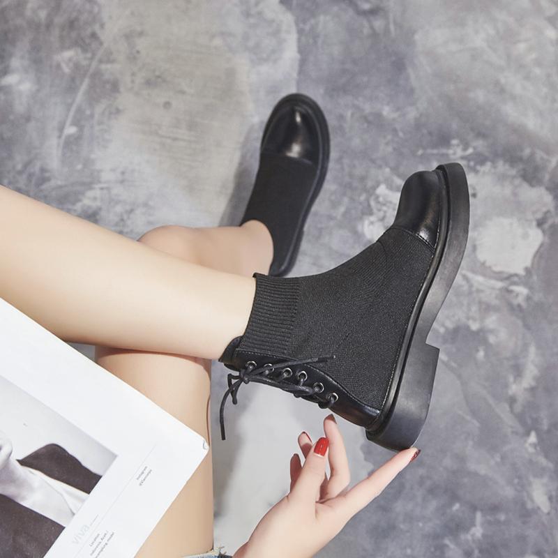 马丁靴子女2019秋季新款网红秋款弹力袜靴女鞋短筒鞋韩版短靴英伦