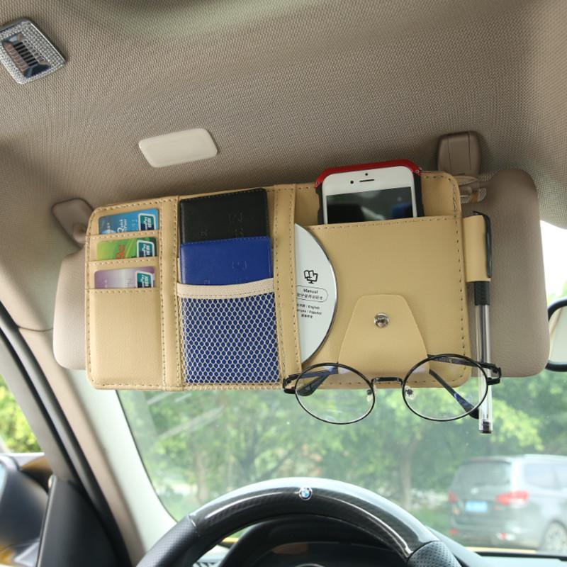 多功能汽车遮阳板套车用手机遮阳板收纳包挂袋眼镜夹票据夹证件袋
