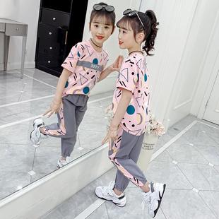 中童运动套装短袖薄款洋气3四5到7六8九10岁女童夏装小女孩的衣服图片