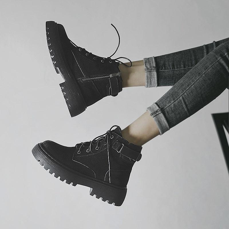 早秋马丁靴女2019新款英伦风百搭小短靴女春秋单靴黑色靴子冬季