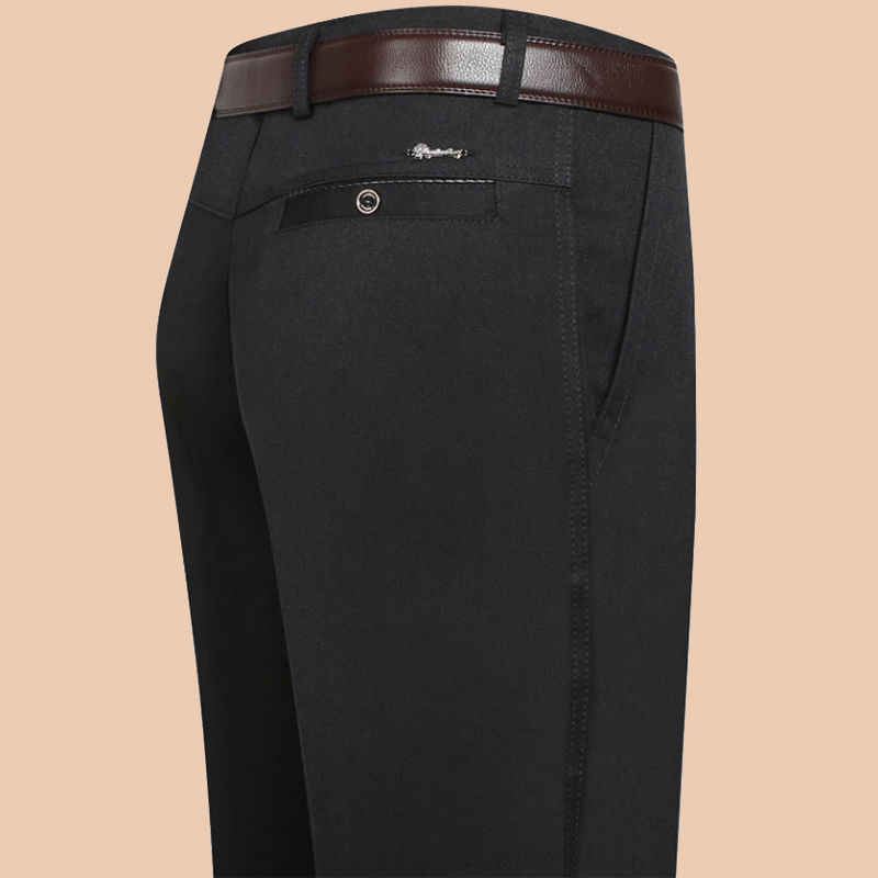 秋季厚款中年男士休闲裤宽松直筒西裤中老年人男裤长裤爸爸装裤子