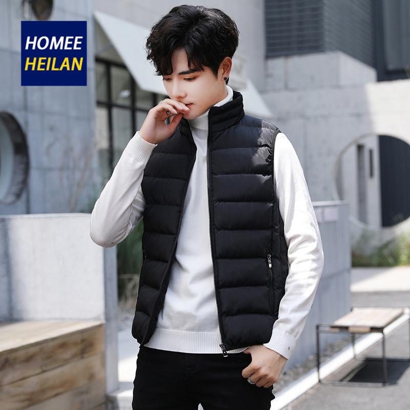 HOME E HEILAN棉马甲2019秋冬立领男修身帅气百搭潮流棉服背心