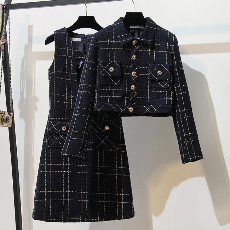 单件/套装小香风外套裙子套装裙女2019秋季新款时尚连衣裙两件套满39元减2元