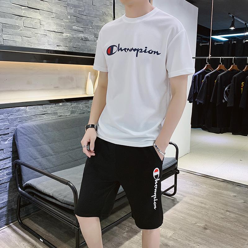 ins潮牌男士T恤套装 休闲短裤男