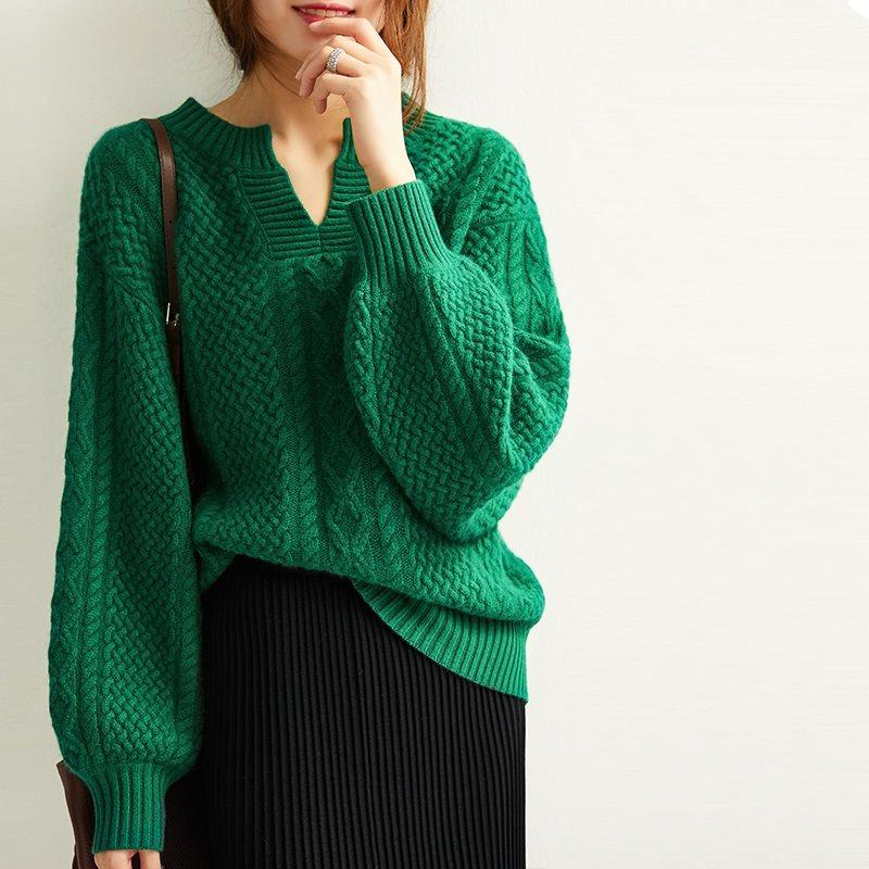 反季清仓复古慵懒风祖母绿韩版宽松羊绒衫女毛衣加厚针织羊毛衫