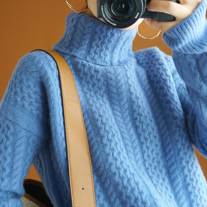 重磅加厚绞花羊绒衫女高领套头羊毛毛衣慵懒宽松短款针织打底衫